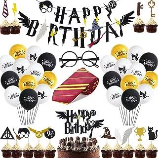 Suministros Cumpleaños Decoracion, Corbata Gafas Banner de Feliz Cumpleaños Cupcake Toppers Globos Decoración para Tarta Mago Cumpleaños Fiesta