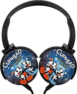 Headphone Cup-Head Lightweight Headset Wired Headphones with Mic Over Ear Cartoon Women's Stereo Headsets for Travel Smart... photo