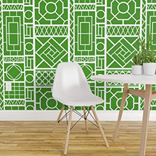 Spoonflower Pre-Pasted Removable Wallpaper, Palm Beach Kelly Green White Chinoiserie Asian Bamboo Hollywood Regency Fretwork Trellis Print, Water-Activated Wallpaper, 24in x 36in Roll