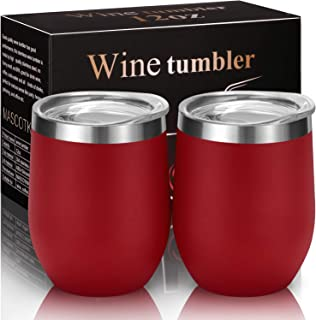 MASCOTKING Wine Tumbler With Non-Slip Bases-12 oz Double Wall Stainless Steel Stemless Insulated Wine Glass with Lid(2PACK 12oz, Matte Wine Red02)