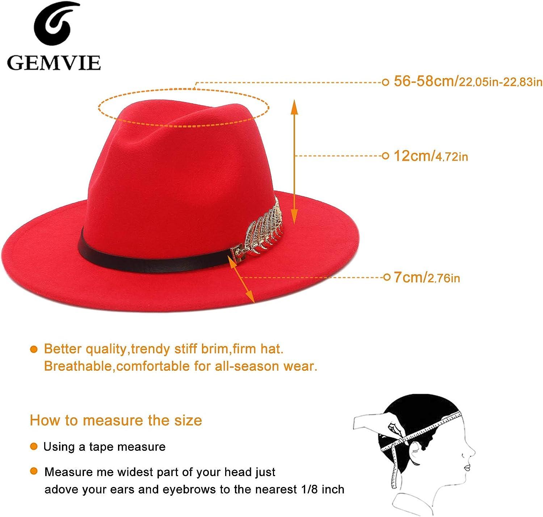 GEMVIE Unisex Two Tone Fedora Hats Wide Brim Patchwork Jazz Hat Buckle Belt Gentleman Party Church Hat