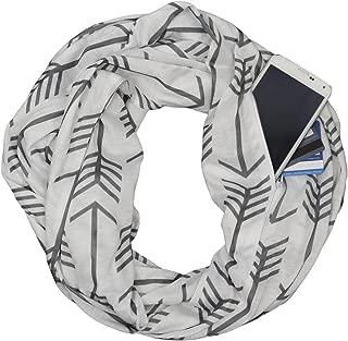 Jade Marie Infinity Scarfs for Women, Lightweight Arrow Scarf with Zipper Pocket