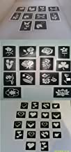 Dazzle Glitter Tattoos 50 Mixed Heart, Butterfly and Flower Stencils for Etching on Glass Hobby Craft Present Gift True Love Valentine Tulip Butterflies Rose