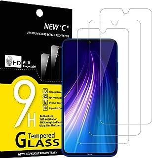 NEW'C 3-pack skärmskydd med Xiaomi Redmi Note 8, Xiaomi Mi 9 Lite – Härdat glas HD klar 9H hårdhet bubbelfritt