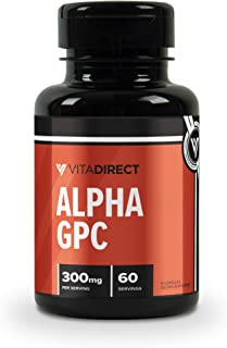VitaDirect Premium Alpha-GPC 300mg Pills, 60 Vegetarian Pills, Alpha GPC Choline Supplement
