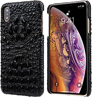 iPhone Xs Leather Case, iPhone X Leather Case, Reginn Wireless Charging Compatible Phone Bumper, Slim Fit Genuine Leather Case for iPhone X and iPhone Xs (Crocodile Head Pattern Black)