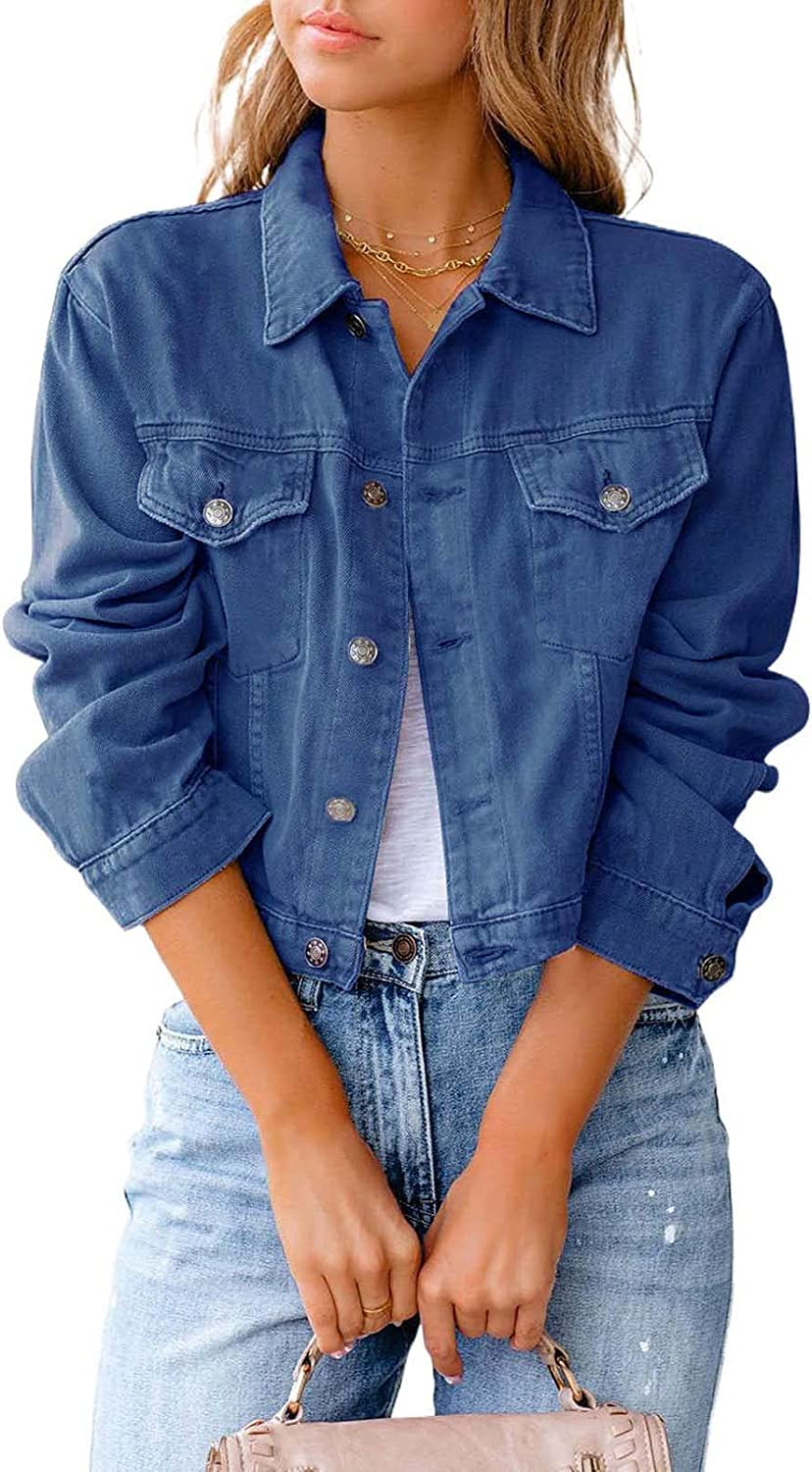 Mialoley Women's Denim Jacket Cropped Washed Button Down Ruffle Sleeve Crop Jean Jackets Coat with Pockets