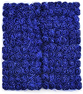 Mini Foam Rose Artificial Flowers for Home Wedding Car Decoration DIY Pompom Wreath Decorative Rose Bridal Flower Bouquet Fake Flower Roses Party Birthday Home Decor 144 pcs 2cm (Royal Blue)