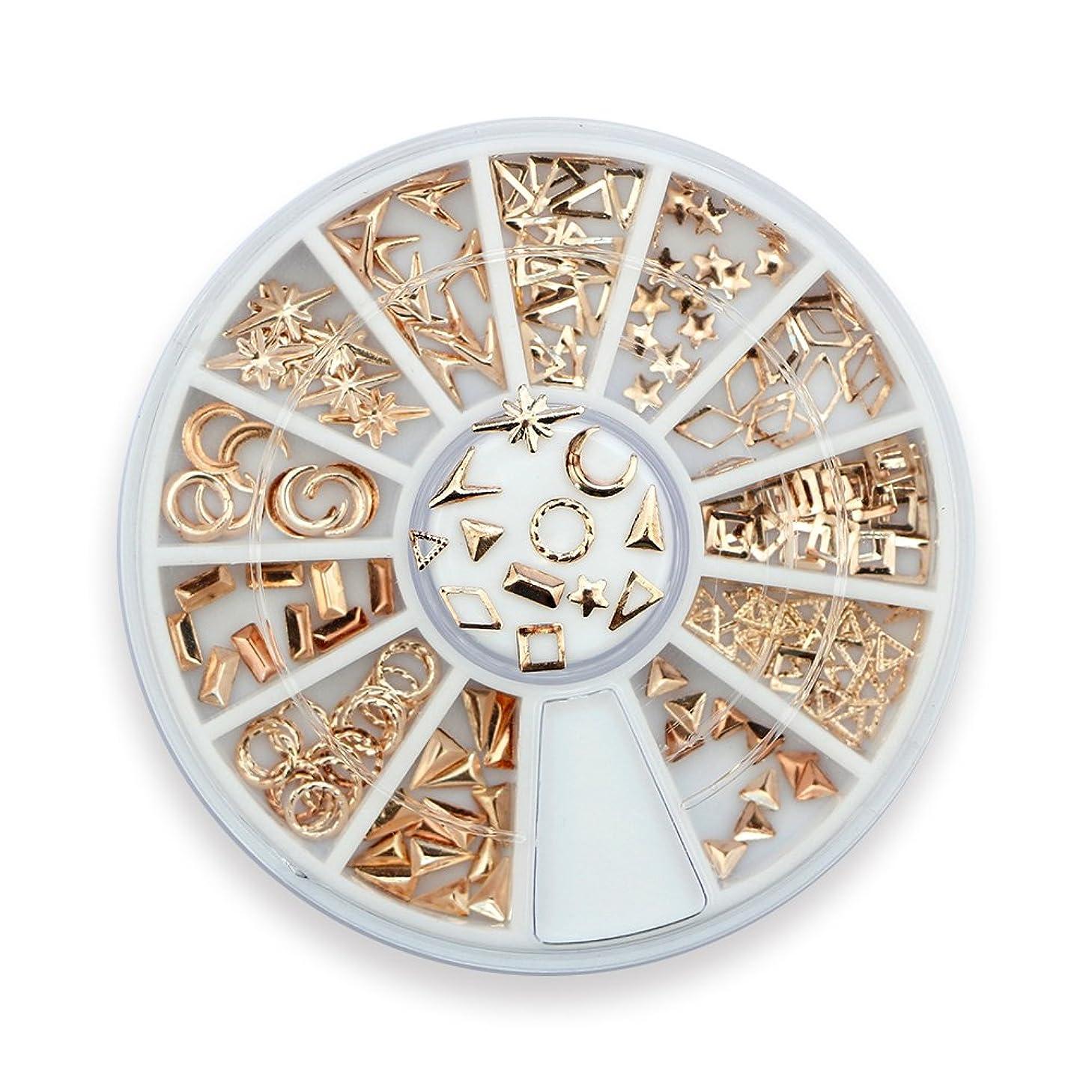 誕生初期リクルートTakarafune ネイルアート ネイル パーツ ローズゴールド メタルスタッズ セットビジュー ジェルネイル 3Dネイルデコレーション 12種類