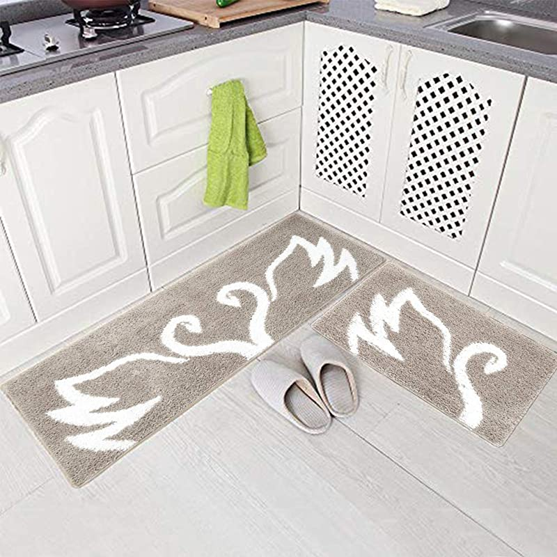 BMMYE Kitchen Mats Set 2 Pieces Non Slip Microfiber Soft Floor Mat Doormat Runner Carpet 19 X 31 19 X 47 Swan