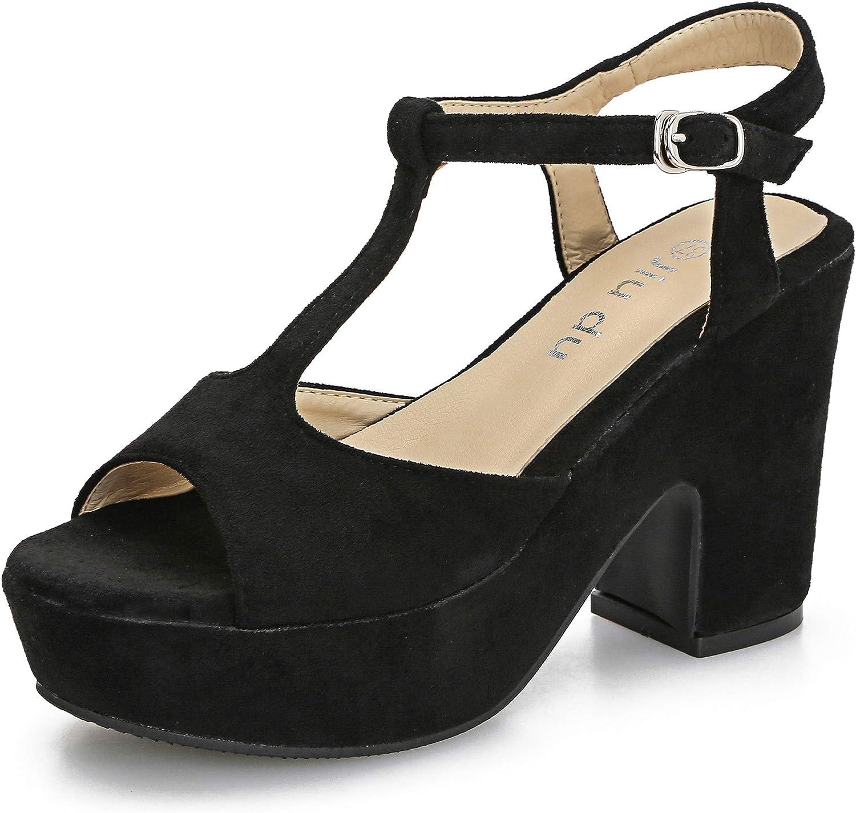 Women's T-Strap excellence Platforms Wedges specialty shop Sandals Peep Block Ch Toe Suede