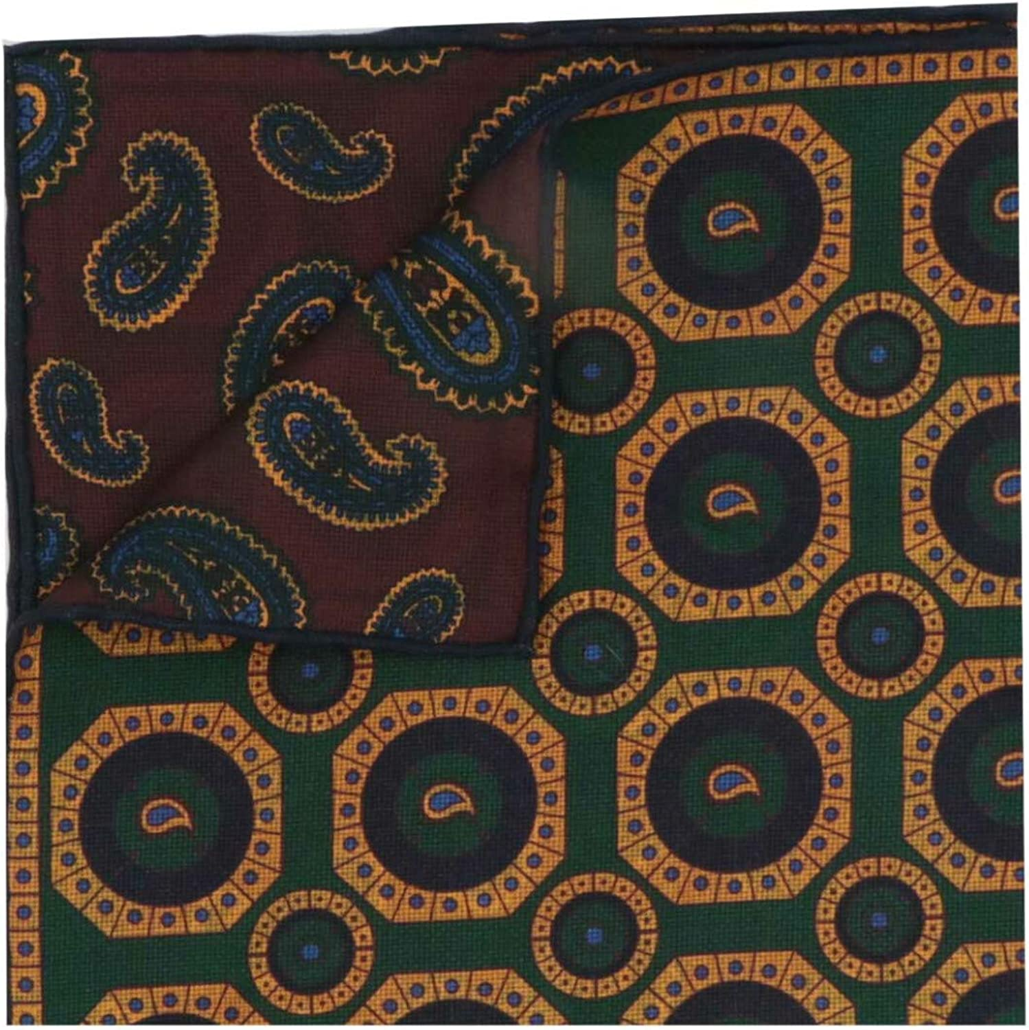 Seaward & Stearn Men's Silk Double Sided Paisley and Egyptian Collar Meda Pocket Square