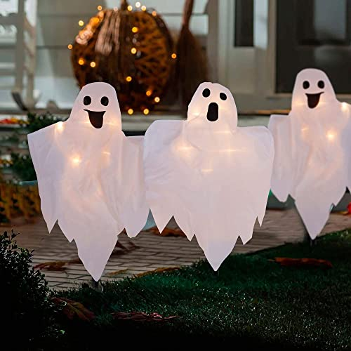 wholesale Twinkle Star Halloween Outdoor Decorations 3 Pack Lighted White Ghost Garden Stakes, 20-Count High-Voltage Light Up 26 Inch Tall Cloth Ghost, new arrival Lawn Yard online sale Outside Haunted House Decor online