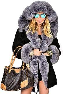 4bdcb3619326 Aofur Womens Hooded Faux Fur Lined Warm Coats Parkas Anoraks Outwear Winter  Long Jackets