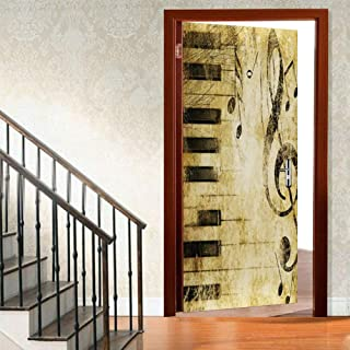 ChitNew8 3D Music Door Stickers Murals, Musical Notes with Piano Self-Adhesive Door Decals, 3D Wall Sticker Reusable Wallp...