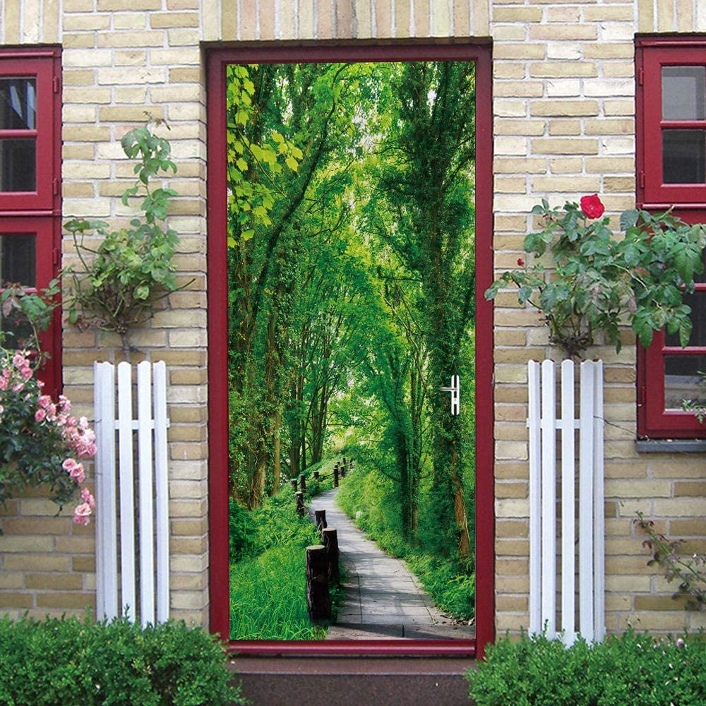 Charlotte Mall LIYIWLH 3D Door Wall Sticke Green Landscape Max 56% OFF Forest Path 88x200cm