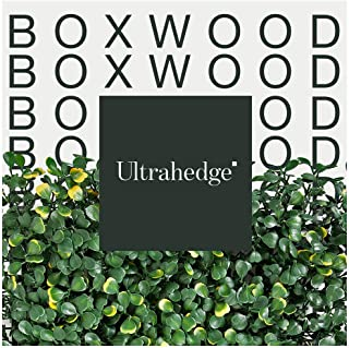 UltraHedge Artificial Hedge Boxwood Milan in Light and Dark Green Blend with Yellow | Indoor Outdoor Fence Privacy Screen and Wall Backdrop Decor | 20 x 20 Inches Panels | 12 Pack