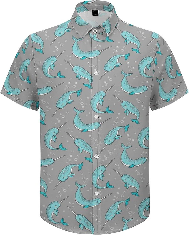 Mens Hawaiian Shirt Watercolor Dragonfly Blue Background Tropical Shirt Casual Top Shirt Blouse Button Down -
