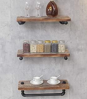 DOFURNILIM 3-Tier Industrial Retro Wall Mounted Iron Water Pipe Shelf/Bookcase/Shelving – Floating Shelf - Hung Bracket - DIY Storage Bookshelf – Height Adjustable Shelf - Wood Shelf