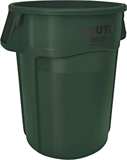 Rubbermaid Commercial FG265500DGRN BRUTE Heavy-Duty Round Waste/Utility Container, 55-gallon, Dark Green