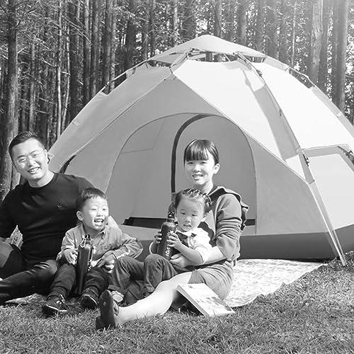 MJY Tente extérieure tente hydraulique tente ouverte épaissir tente antipluie 3-4 personnes tente de camping couple tente,Jaune,235  205  135cm