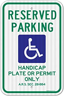 Reserved Handicap Parking Sign, Parking by Plate or Permit Only, 12x18 3M Reflective (EGP) Rust Free .63 Aluminum, Easy to Mount Weather Resistant Long Lasting Made in USA by SIGO Sign