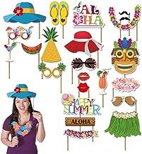 Luau party supplies luau party decorations luau photo booth props kit 45pcs-Aloha Hawaiian Tropical Tiki Birthdays Summer Beach pool decorations party favors for kids