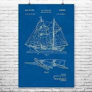Model Sailing Ship Poster Print, Nautical Gifts, Pirate Ship, Model Boat, Shipbuilding, Ship in Bottle, Royal Navy Blueprint (8