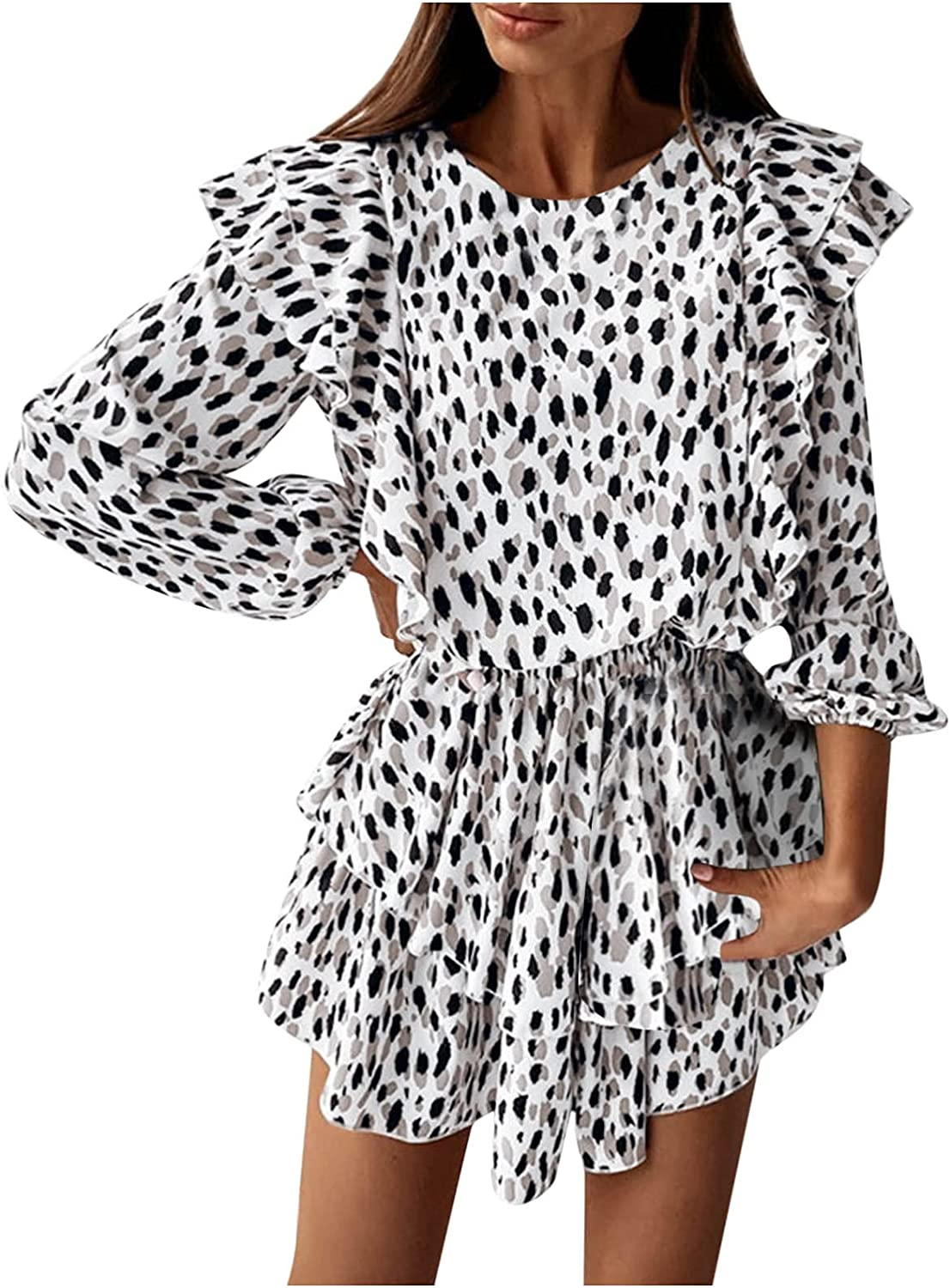 Ruched Dresses for Women, Ladies Loose Round Neck Leopard Print Floral Ruffle Leaf Skirt Dress