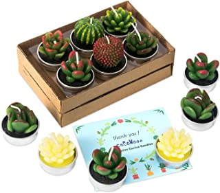COCOMOON 12 Pcs Cactus Tealight Candles Handmade Delicate Succulent Cactus Candles Flameless Aromatherapy 12 Designs for for Birthday Party Wedding Spa(Succulent Candles)