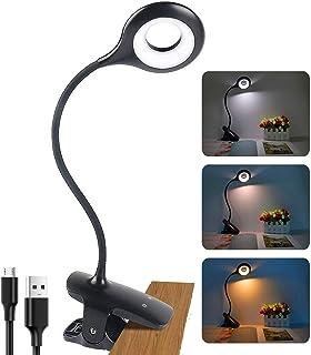 Lámpara de lectura con pinza para libro, interruptor táctil, lámpara de pinza, recargable por USB