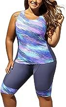 GLUDEAR Women's Plus Size Floral Capris Bottom Tankini Two Piece Swimsuits L-5XL