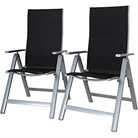 Chicreat 80503 9-Way Adjustable High-Back Folding Chairs, Set of 2, Black/Silver, 69 x 57 x 113 cm