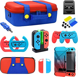 Accessories Kit Bundle for Nintendo Switch, YUANHOT Cover Case Hand Grip Controller Charger Steering Wheel Stand Carrying ...
