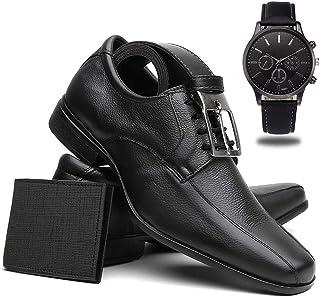 Sapato Social Masculino Couro + Cinto + Carteira + Relógio