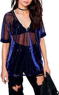 HaoDuoYi Womens Shiny Metallic Mesh Sheer V Neck Half Sleeve T Shirt Top