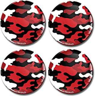 Biomar Labs® 4 x 70mm Aufkleber 3D Silikon Camouflage Rot Für Radkappen Nabenkappen Radnabendeckel Rad Aufkleber Nabendeckel A 1270