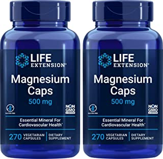 Life Extension Magnesium Caps 500mg, 270 Capsules (Pack of 2) - Vegan, Non-GMO, Mag Complex Supplement w/Oxide, Citrate, S...