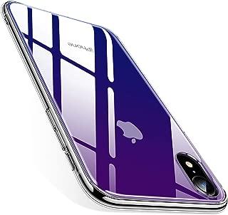 TORRAS iPhone XR 用 ケース グラデーション強化ガラス背面+TPUバンパー 滑り止め 黄変防止 9H硬度 薄型 傷防止ストラップホール付き(グラデーションブルー)