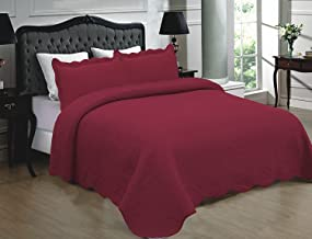 Home Must Haves Burgundy Color 100% Cotton 3-piece Quilt Bedspread Bed Cover Coverlet Set King Size (102 x 90)