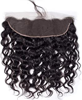 13x4 Ear to Ear Water Wave Lace Frontal Closure Free Part with Wet and Wavy Human Hair Nature Black Color 8A Brazilian Virgin Hair Lace Frontal with Baby Hair130% Density (14'' frontal)