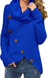 GRECERELLE Women's Solid Color Chunky Button Pullover Sweater Turtle Cowl Neck Asymmetric Hem Knit Sweater