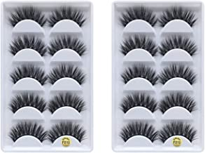 FUN YOUNG 3D Real 15mm Faux Mink Lashes, Handmade Reusable false eyelashes, Luxurious Wispy Natural Cross Thick Dramatic Lashes(10PAIR)