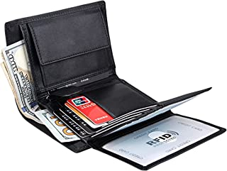 Wallet for Men With Coin Pocket RFID Leather Card Holder Big Trifold 3 ID Windows