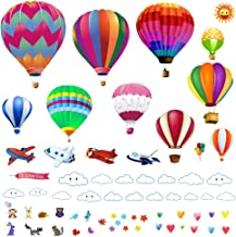 Lemostaar Hot Air Balloons Wall Decals Stickers - Decorative Vinyl Peel and Stick Classroom Decorations Wall Art Mural for Children's Bedroom, Baby Nursery and Playroom