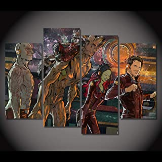 Lienzo De Pintura Pinturas en lienzo Imagen de arte de pared para la decoración de la sala de estar 4 paneles Guardians of the Galaxy Modern HD Impreso,Frame 40x80CM * 2 40 * 100CM * 2