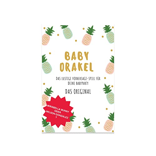 elementJune Babyparty Spiel - Baby Orakel für Deine Baby Shower - Das Original - A5 Block zum Beschreiben - 25 Spieler - Junge oder Mädchen - Ratespiel