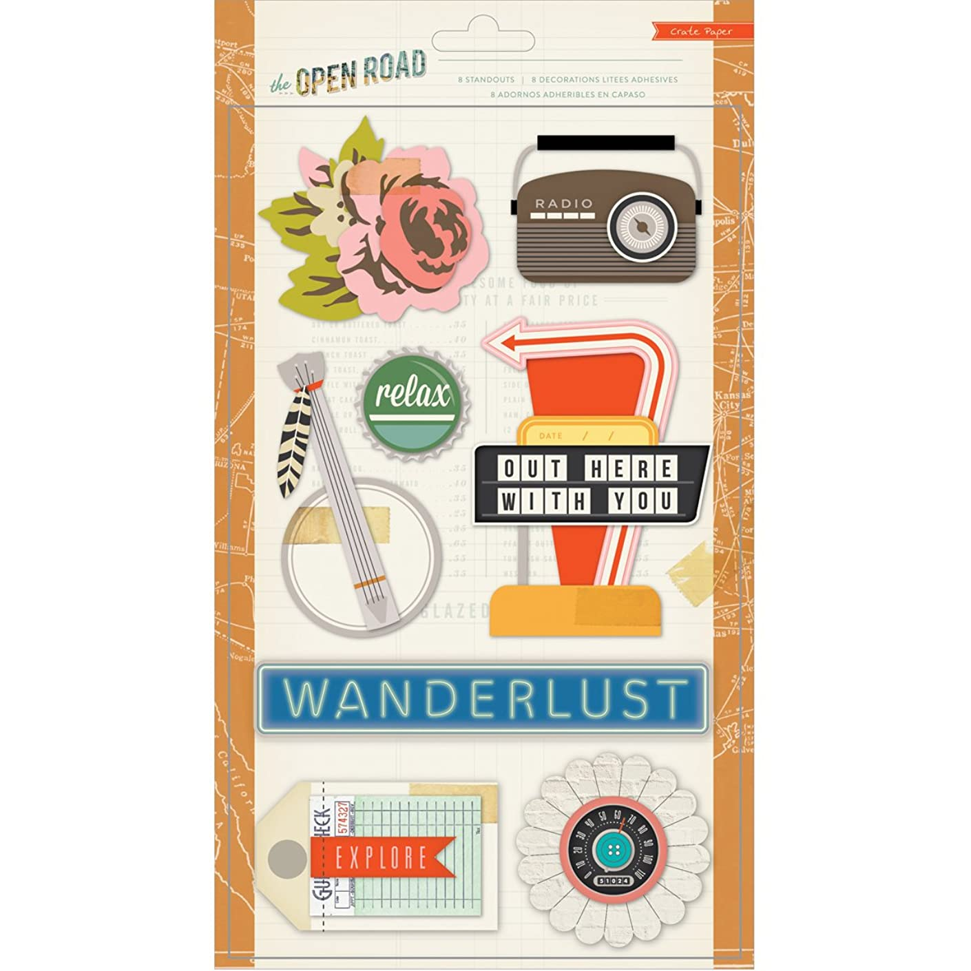 Crate Paper 683510 Open Road Standouts Layered Sticker
