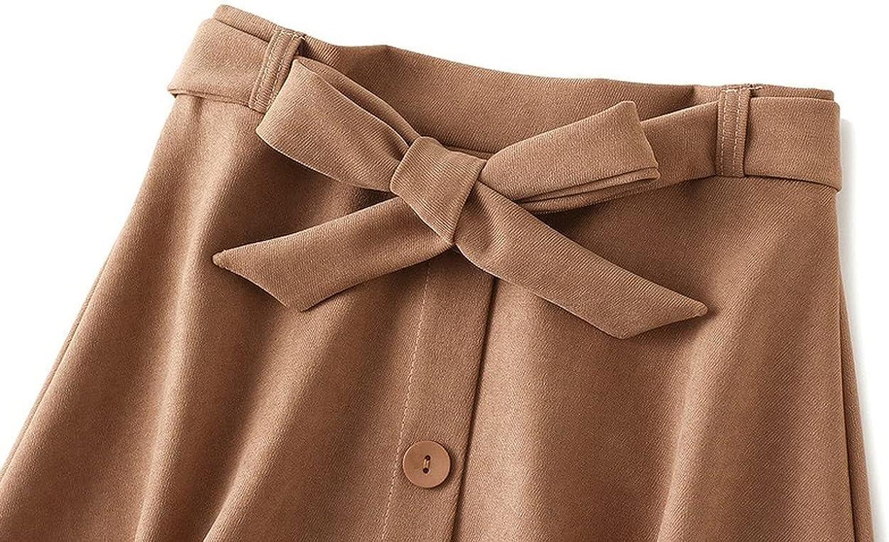 Alilyol Women's Ruffle A-Line Pleated Midi Skirt Elegant Elastic High Waist Button Down Bowknot Skirt