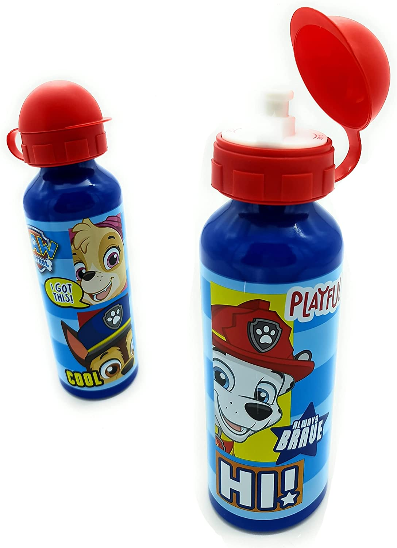 Botella agua para niños Patrulla Canina aluminio sin BPA cómoda y práctica. 520 ml